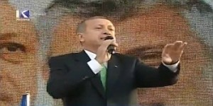 "Recep Tayyip Erdogan delivers his ""Turkey is Kosovo"" speech in Prizren on 23 October at a public event hosted by Kosovo Prime Minister Hashim Thaci. Albanian Prime Minister Edi Rama also spoke to the crowd. Image from a video by abcnews albania / YouTube."