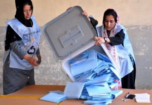 Poll workers counting ballots. Pajhwok Afghan News/Demotix; All Rights Reserved.