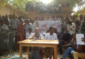 Students share their strike demands with a wider public at a press conference at the University of Khartoum, April 10, 2014.