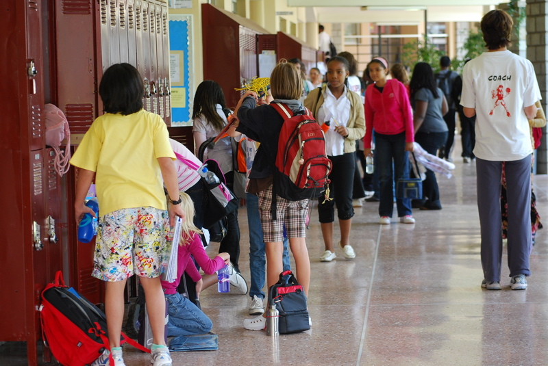 Middle school locker area at the science lab corridor. Contributed by Jimlaneyjr, this image has been made a part of the public domain by its contributor.