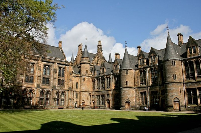 The University of Glasgow. This image is attributed to Mike Peel and is licensed under a Creative Commons Attribution-Share Alike license.