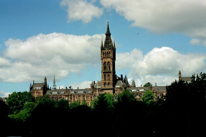 Glasgow, University tower. The copyright on this image is owned by Astrid Horn and is licensed for reuse under the Creative Commons Attribution-ShareAlike 2.0 license.