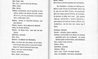 Two pages (236, 237) of  a German Dictionary, from the old vocabulary of Hoche.  The dictionary itself is attributed to J.G. Hoche, Reise durch Osnabrück und Niedermünster in das Saterland, Ostfriesland und Gröningen. Bremen 1800, and the image is attributed to Pyt.  It is available to the US, European Union and Australia as part of the public domain as its copyright has expired.